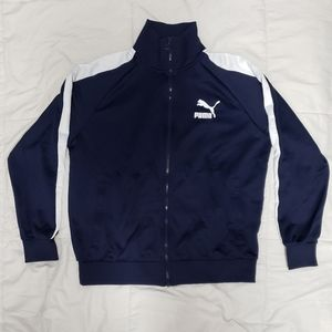 Puma logo track jacket with striped sleeve in Navy
